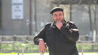 Exterior shots Chechen people Chechens at Peace Day of Chechen Republic concert people listening to music security guard at concert on April 16 2015...