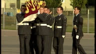 Exterior shots coffin of Princess Diana is carried by RAF Honour Guard on in London England