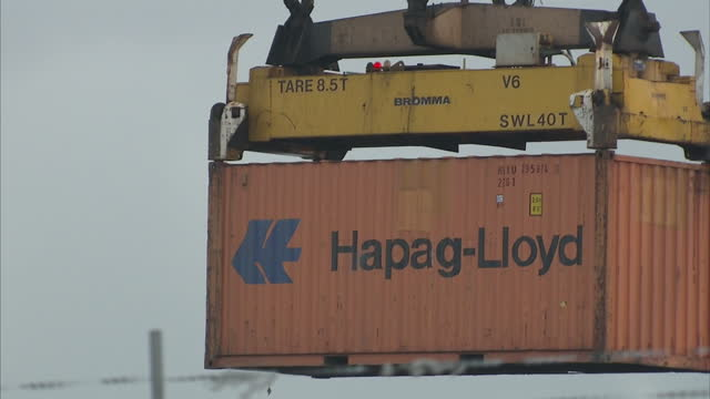 Exterior shots container crane moving shipping containers around at Belfast docks on January 19 2016 in Belfast Northern Ireland