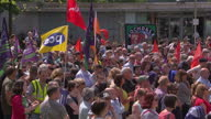 Exterior shots crowds people on strike in Manchester Piccadilly Gardens on July 10 2014 in UNSPECIFIED United Kingdom