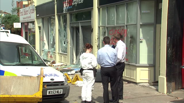 Exterior shots damage to Tesco Express store after riots protests in Bristol Damage to Tesco Express Store in Bristol on April 22 2011 in Bristol