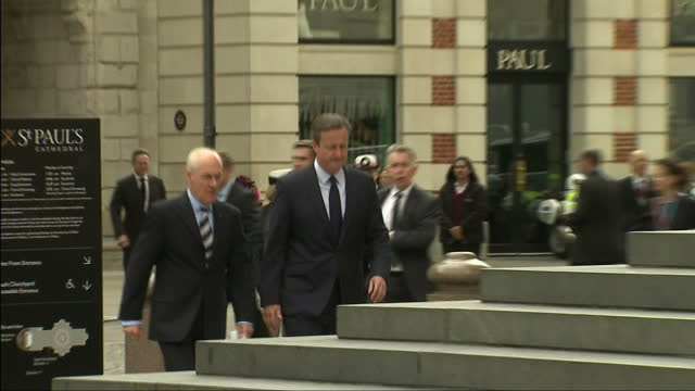Exterior shots David Cameron British Prime Minister arrives at St Pauls Cathedral for memorial service to remember victims of the 7/7 London Bombing...