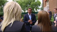 Exterior shots David Cameron British Prime Minister meets and chats with the England women's football team in the garden of Number 10 Downing Street...