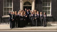 Exterior shots David Cameron British Prime Minister stands with the England Women's Football Team for photo op outside 10 Downing Street on June 10...