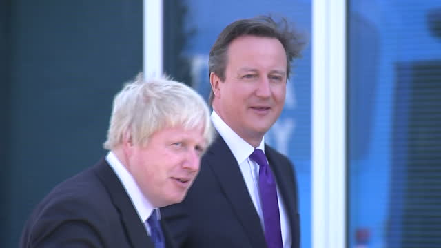 Exterior shots David Cameron Prime Minister leader of Conservative Party and Boris Johnson Mayor of London arriving at Advantage children's daycare...
