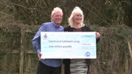 Exterior shots David Kathleen Long posing for media with giant EuroMillions cheque for one million pounds on April 01 2015 in Scunthorpe United...