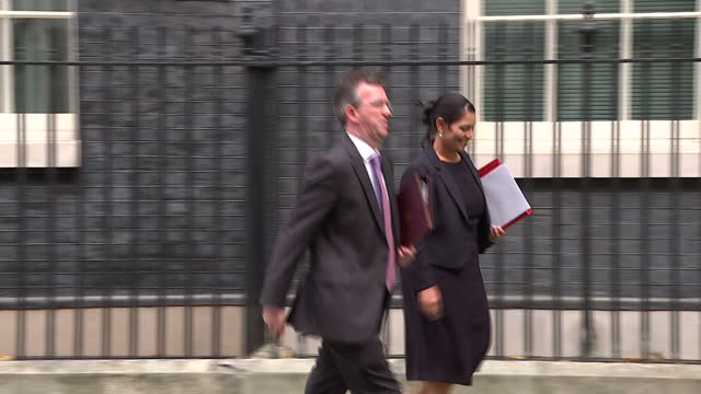 Exterior shots Downing Street departure for Ministers Cabinet meeting Priti Patel MP Secretary of State for International Development departs leaves...