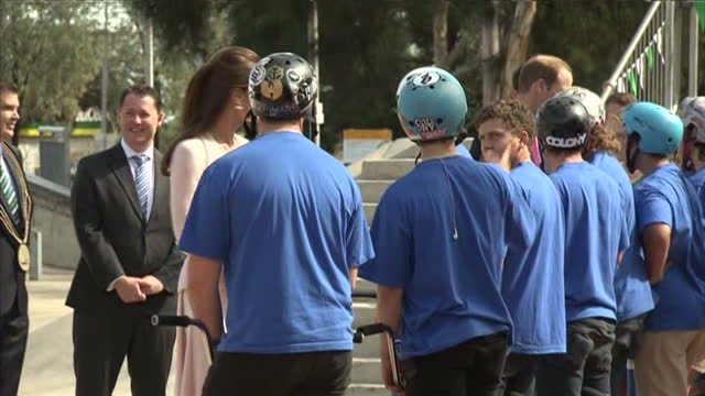 exterior shots Duke and Duchess of Cambridge meet BMX riders and present them with a skate board