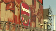 Exterior shots Emirates Stadium home to Arsenal Football Club with 'Gunners' cannons outside ground on April 10 2011 in London England
