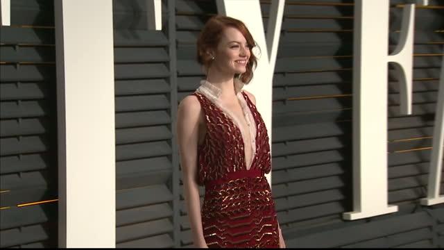 Exterior shots Emma Stone posing on February 22 2015 in Los Angeles California
