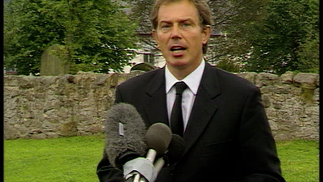 Exterior shots emotional Prime Minister Tony Blair makes statement on the death of Princess Diana in Trimdon County Durham Tony Blair Reaction to...