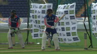 Exterior shots England Cricket team bowlers and batsmen training in nets on pitch at the Swalec Stadium ahead of the first Ashes Test match on July...