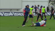 Exterior shots England Cricket team playing football on pitch at Swalec Stadium in training session ahead of first Ashed Test match on July 07 2015...