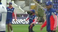 Exterior shots England Cricket team training on pitch at Swalec Stadium ahead of first Ashes Test match on July 07 2015 in Cardiff Wales