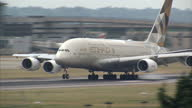 Exterior shots Etihad Airways Airbus A380 passenger plane landing at Heathrow airport on July 01 2015 in London England
