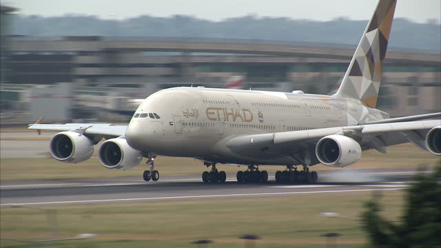 Exterior shots Etihad Airways Airbus A380 passenger plane landing at Heathrow airport on July 01 2015 in London England