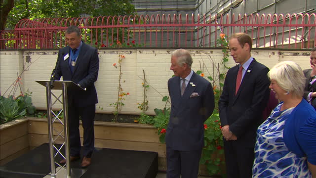 Exterior shots Eugene Farrell giving speech thanking Prince Charles for his dedication to diving retelling of the moment a member of staff saw a...