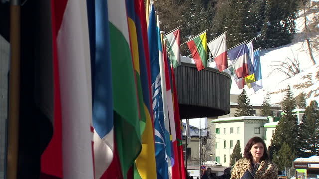 exterior shots European flags hanging outside conference centre EU Member Flags Davos Switzerland on January 23 2013 in Davos Switzerland