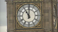 Exterior shots face of Big Ben approaching 11 o'clock on May 08 2015 in London England