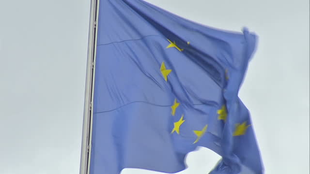 Exterior shots Flag of Europe European Union flag on pole on May 28 2015 in Berlin Germany