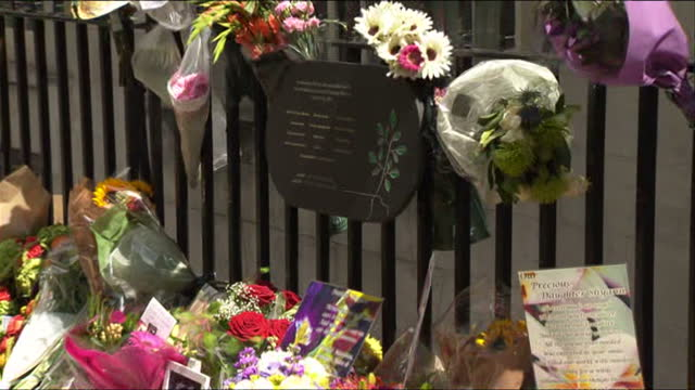 Exterior shots flower tributes left next to 7/7 memorial plaque in Tavistock Square on 10th anniversary of 7/7 London bombings on July 07 2015 in...