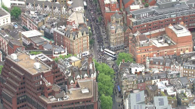 Exterior shots following anti government anti austerity anti Tory march students protesters marching through streets of London on May 27 2015 in...