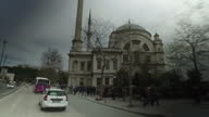 Exterior shots from a car driving through Istanbul passing Byzantine style mosques and driving across the Ataturk Bridge on April 12 2017 in Istanbul...