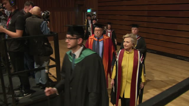 Exterior shots Hillary Clinton 2016 American Presidential Candidate arrives to be presented with an Honorary Doctorate of Law from Swansea University...