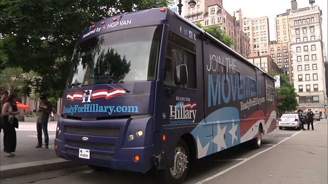 Exterior shots Hillary Clinton Presidential Campaign bus parked at side of the road Slogan 'Ready For Hillary' covering the bus on June 07 2014 in...
