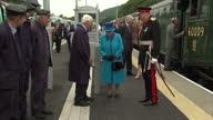 Exterior shots HM The Queen Elizabeth II and Prince Philip Duke of Edinburgh First Minister Nicola Sturgeon arriving at Tweedbank Station in Steam...