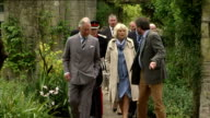 Exterior shots HRH Prince Charles and Camilla Duchess of Cornwall on walkabout around Mount Stewart house and gardens on May 22 2015 in Newtownards...