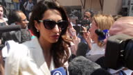 Exterior shots Human Rights Lawyer Amal Clooney and Marwa Fahmy in media scrum after court verdict in Al Jazeera Journalists Trial on August 29 2015...