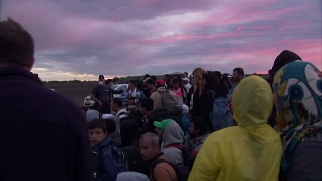 Exterior shots Hungarian Police stand in front of the crowds of migrants with some wearing masks as buses arriving Exterior shots migrants refugees...