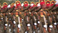 RAJPATH DELHI exterior shots Indian army Central Industrial Security Force marching in Republic Day parade rehearsal / exterior shots Indian army...