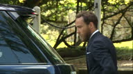 Exterior shots James Middleton Michael Middleton and Carole Middleton arrive at Church of St Mary Magdalene for christening of Princess Charlotte of...