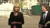 Exterior shots Joanna Lumley talking outside Westminster Abbey leaving on March 13 2014 in London England