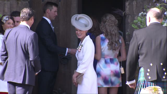 Exterior shots Judy Murray mother of Andy Murray arrives at wedding on April 11 2015 in Dunblane Scotland
