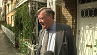 Exterior shots Justice Secretary Ken Clarke speaks to the media outside his home on his the Prime Minister's sentencing plans Ken Clarke Grab on...