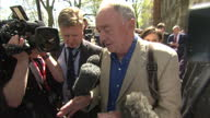 Exterior shots Ken Livingstone Former Labour London Mayor surrounded by media asking questions about his comments that 'Hitler was a Zionist' as he...