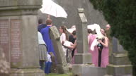 Exterior shots Kim Sears arrives at Dunblane Cathedral on her wedding day on April 11 2015 in Dunblane Scotland