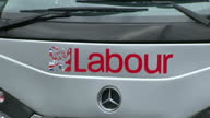 Exterior shots Labour party election campaign bus with slogan 'A Better Plan A Better Future' on side of bus on March 31 2015 in Manchester United...