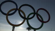 Exterior shots large structure of Olympic rings in Sochi Olympic Park on in Sochi Russia