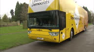 Exterior shots Liberal Democrats yellow election bus on March 29 2015 in Abingdon United Kingdom