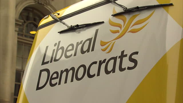Exterior shots Liberal Democrats yellow election campaign bus on March 30 2015 in London United Kingdom