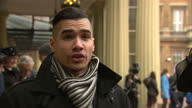 Exterior shots Louis Smith MBE Olympic gymnast talks about his plans for the future Louis Smith Talks About His Future Plans at Buckingham Palace on...