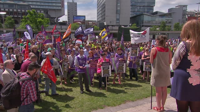 Exterior shots Manchester Piccadilly Gardens people with Unison balloon large crowds gathered on July 10 2014 in UNSPECIFIED United Kingdom