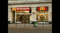 Exterior shots McDonalds restaurant with window advertisement for the New McChicken Sandwich on August 11 1989 in London United Kingdom