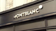 Exterior shots MontBlanc Mont Blanc store luxury watches and pens at window display in Bond Street on September 08 2015 in London England
