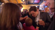 Exterior shots Nick Clegg accepts 'We agree with Nick' flag from baby on April 01 2010 in London England