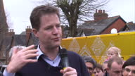 Exterior shots Nick Clegg Liberal Democrat leader speaking as he launches the Lib Dem election campaign on March 29 2015 in Abingdon United Kingdom